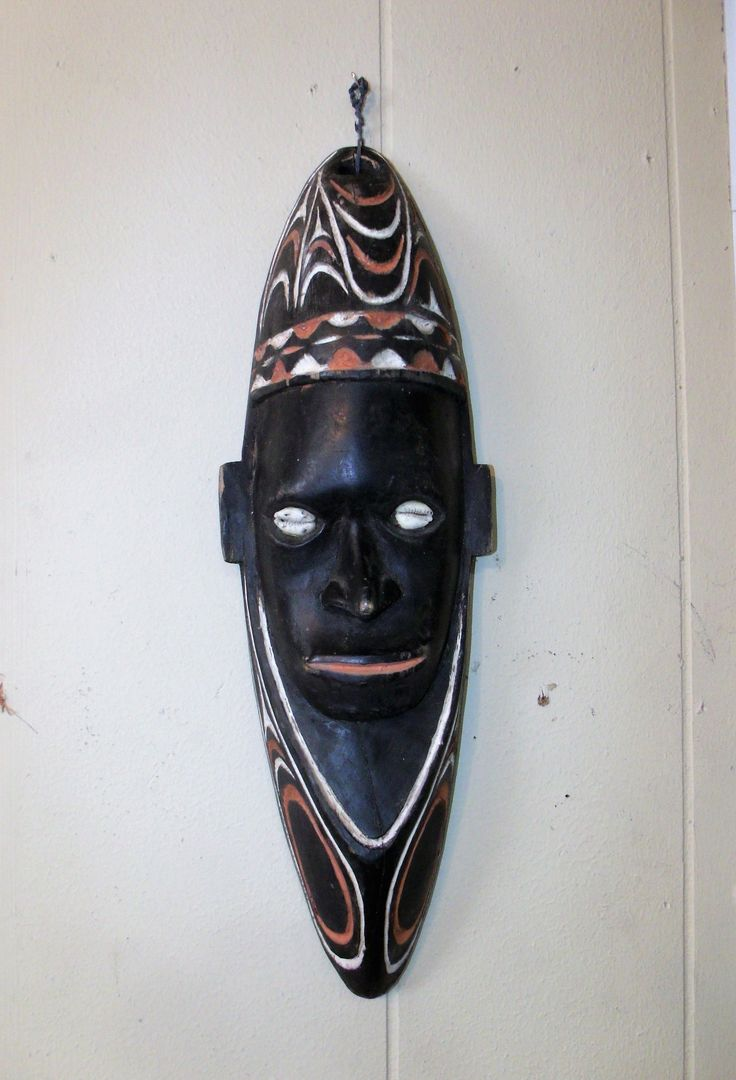 Antique New Guinea Ancestral Lodge Mask Figurine w/ Cowrie Shell Eyes ~ Carved Wood Old Folk Art Wall Decor ~ Spiritual Figure Black VINTAGE by EclecticJewells on Etsy