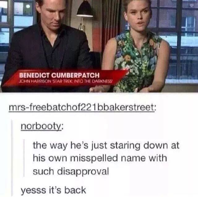 And Benedict Cumberbatch is a fandom too, right?