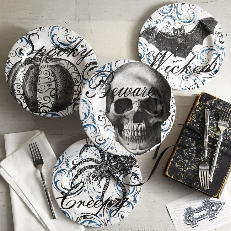 Delight your Halloween guests with our devilishly elegant set of salad plates. Plus durable melamine construction ensures they won\u0027t crash the party. : halloween dinnerware sets - pezcame.com