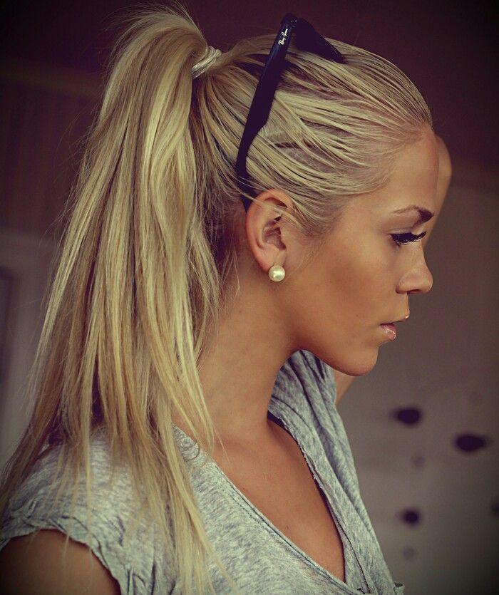 Sexy pantyhose blonde ponytail