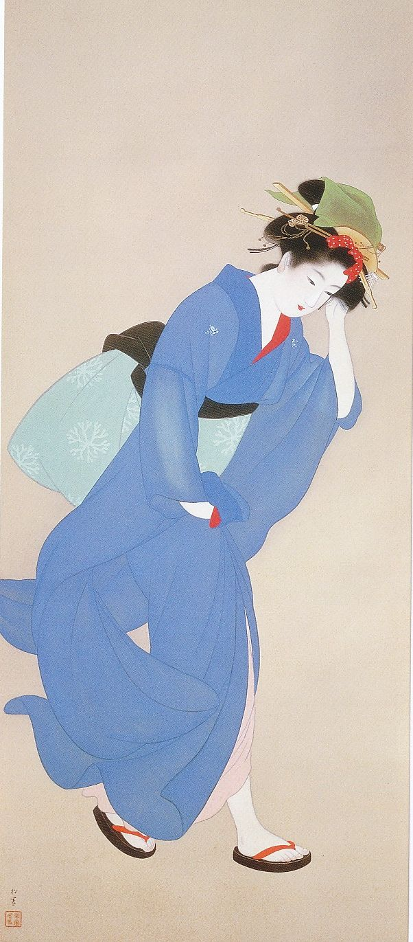 """上村 松園 Uemura Shōen - """"Wind"""" 1939"""