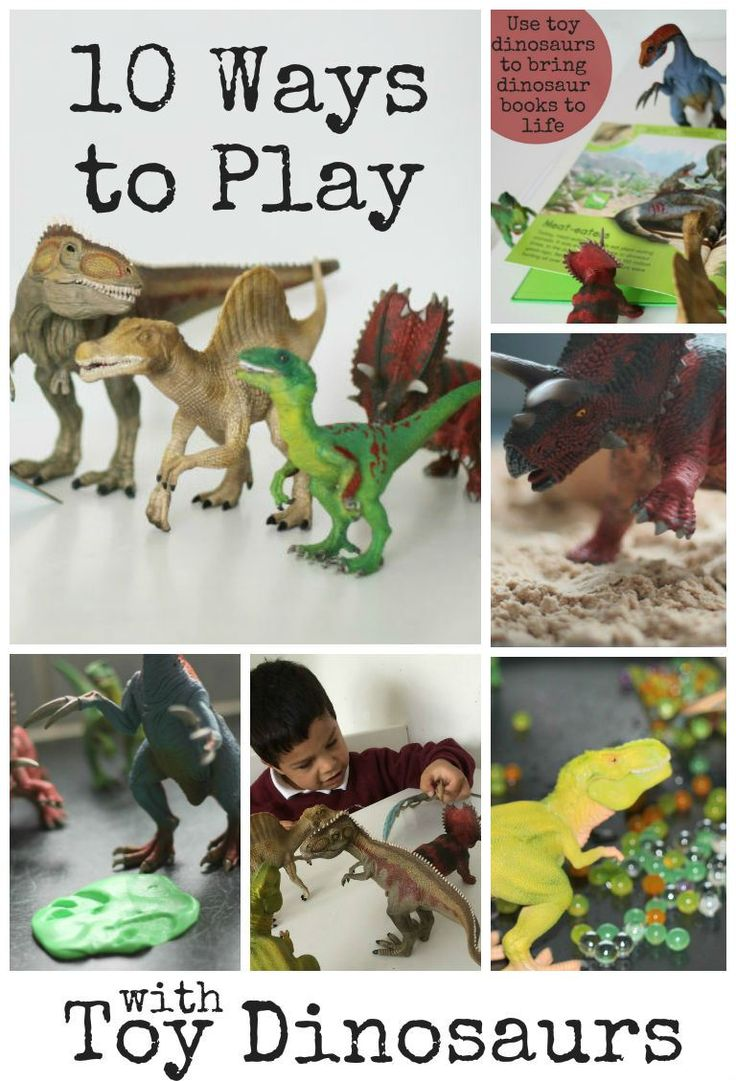 Ways to play with toy dinosaurs - sensory play ideas, dinosaur games and more. I love these fun ideas!