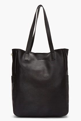 Alexander McQueen Black Leather Perforated Skull Tote for men