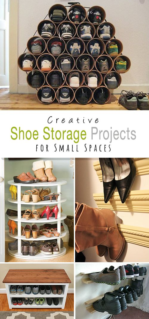 Shoe Storage Projects for Small Spaces! • Click thru and explore this post and check out all the clever and creative DIY projects and tutorials for making these awesome shoe storage racks!
