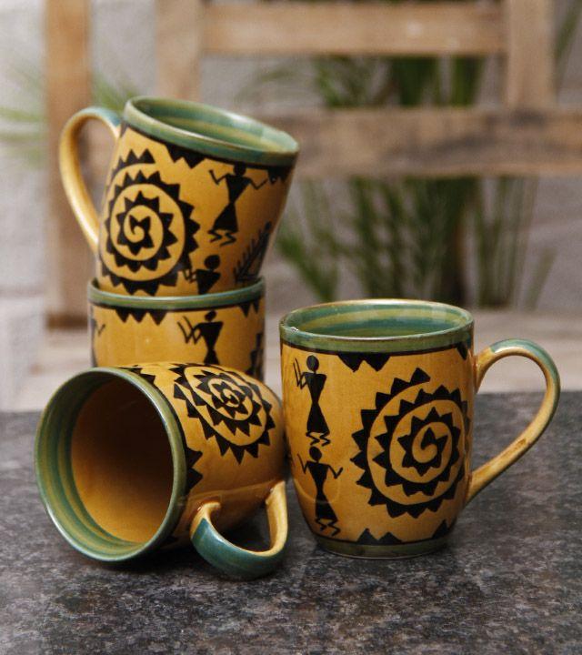 Set of 4 Yellow Ceramic Coffee Mugs