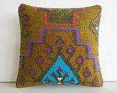 DECORATIVE PILLOW Decorative Throw Pillow Kilim Pillow Cover Turkish Cushion Case eclectic outdoor sofa antique folk art decor Sunnyvale rug