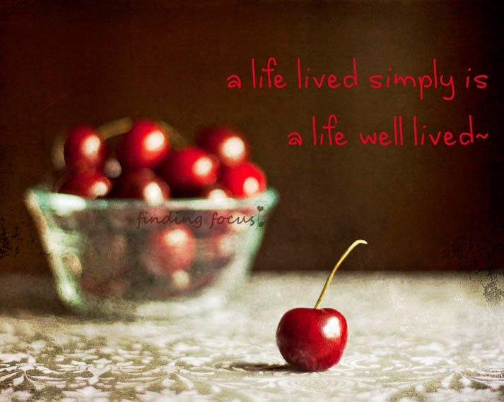Rustic Kitchen Art - Food Photo, Wine Red Cherries Warm Brown Autumn Colors - findingfocus via Etsy #fpoe