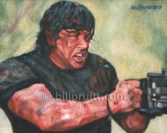 ORIGINAL oil painting Sylvester Stallone Rambo 4 by billpruittart #Rambo4Art #StalloneRambo