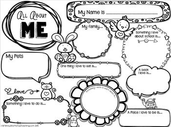 """All About Me """"poster"""" freebie - could have parents fill out with child for first day, could complete during first week as a hallway display, pen pal letter, child of the week, etc."""