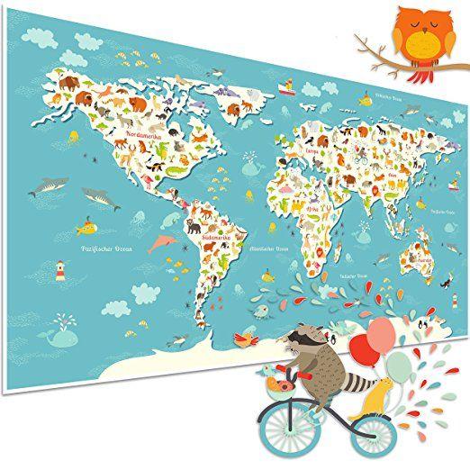 Vintage Weltkarte f r Kinder mit Tieren Kinderposter als Geschenkidee u Deko f r Kinderzimmer bunte Kinderweltkarte