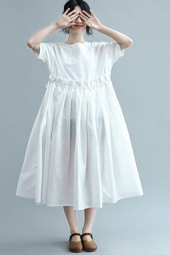 10b579962848b Summer High Waist Loose White Cotton Women Dress Q2347 | Cotton ...