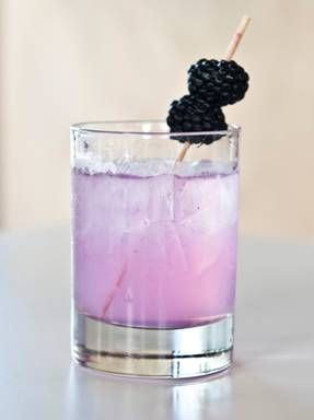 Sweet Harmonie: 2 parts Harmonie (lilac infused liqueur) and 1 part club soda served over ice with a blackberry garnish. (The Harmonie *must* be really cold before pouring.)