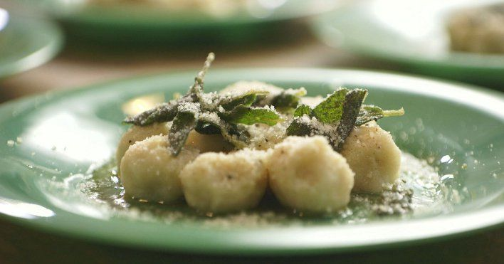 Gnudi con Burro e Salvia. [Gnudi (nude ravioli as per chef) with browned butter and sage]