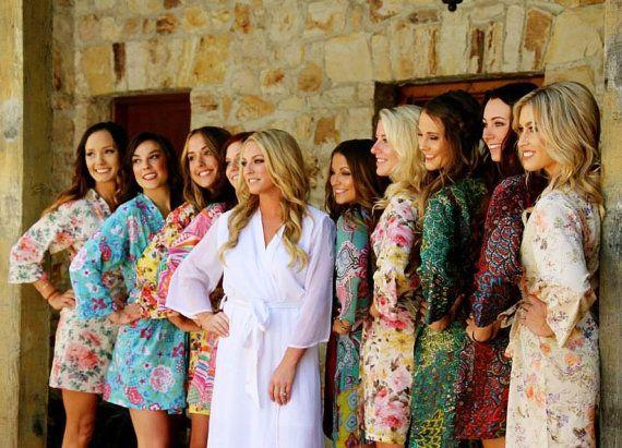 Conjunto de 10 CUSTOM algodón hasta la rodilla damas de honor túnicas.  Túnicas fiesta nupcial y damas de honor regalos únicos