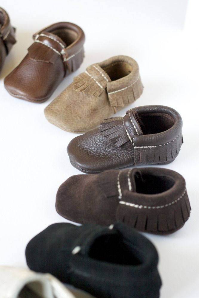 Moccasins for Kids, Babies, Handmade Moccasins, Mason and Kourtney Kardashian - Freshlypicked — Moccasins - Suede Chocolate Brown
