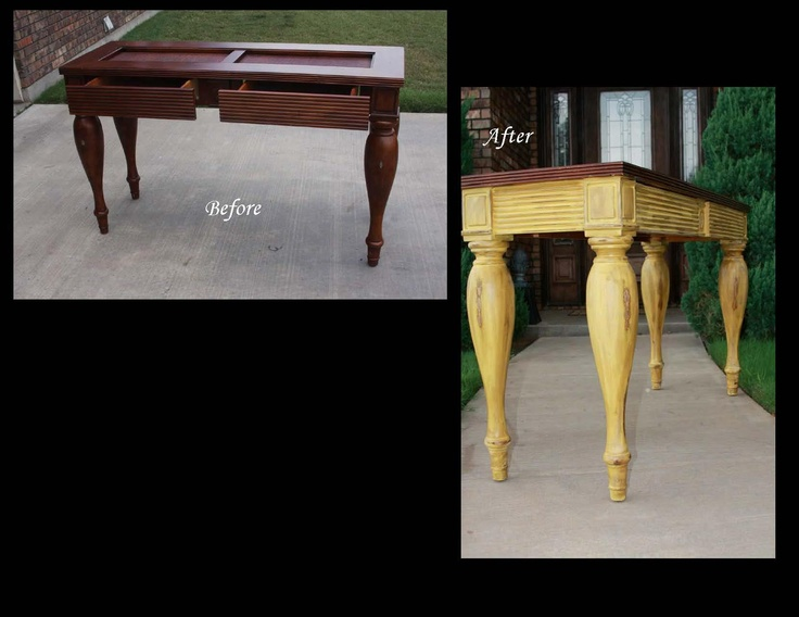 A bold refinish of a sofa table we did!