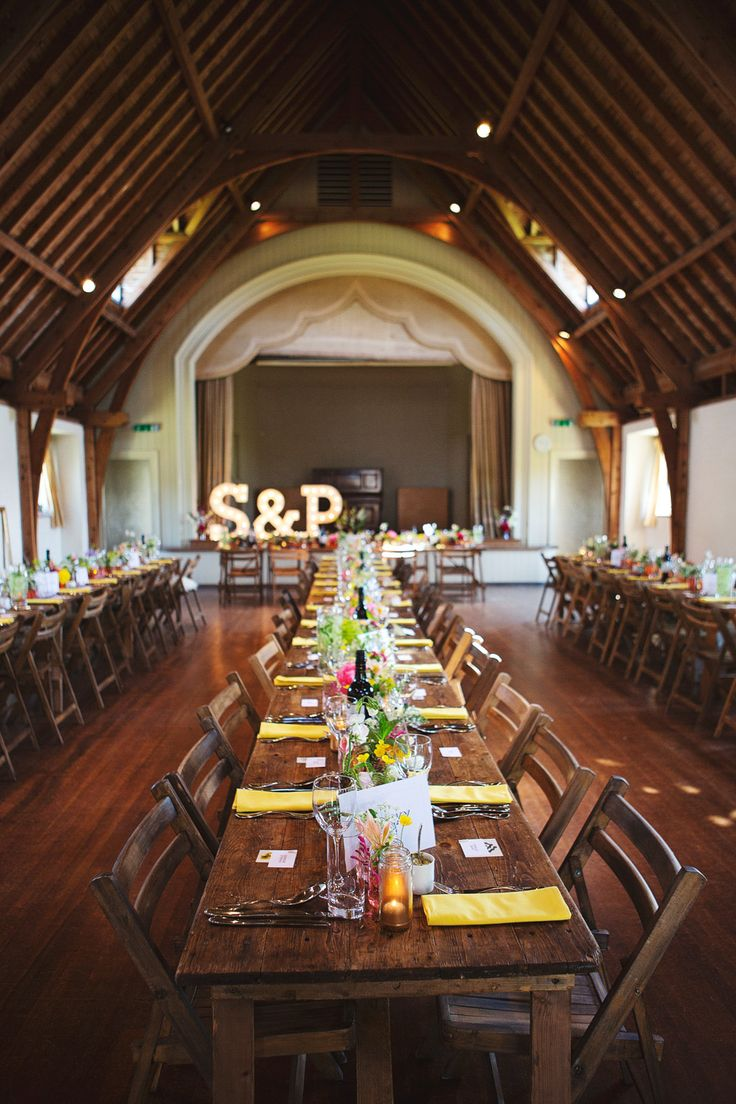 Table settings for a village hall wedding | Photography by http://www.jenmarino.com/