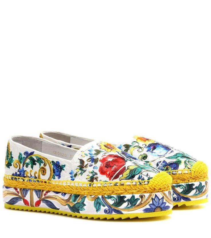 DOLCE & GABBANA Wedge Fabric Espadrilles. #dolcegabbana #shoes #flats