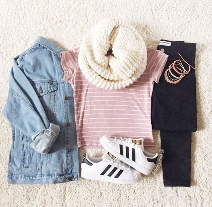 Jean jacket, pink short shirt, black jeans, white adidas superstars