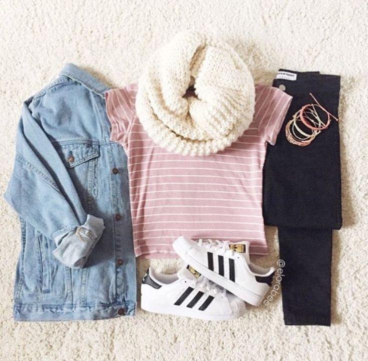 Jean jacket, pink short shirt, black jeans, white adidas superstars