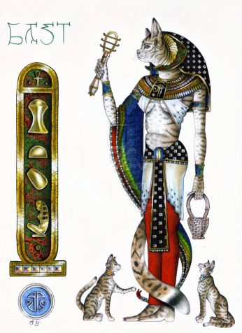 Bast by Badhead Gadroon. Bast was Egyptian goddess of sensual pleasure, protector of the household, bringer of health, and the guardian saint of firefighters.  Bast is a daughter of the Sun God, Ra, sister of Sekhmet (wife of Ptah) and wife of Anubis.
