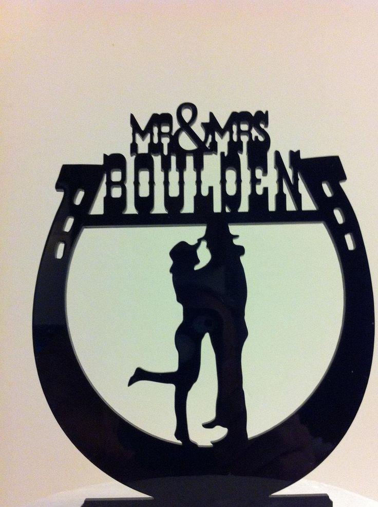Western Horseshoe Wedding Cake Topper Silhouette Couple