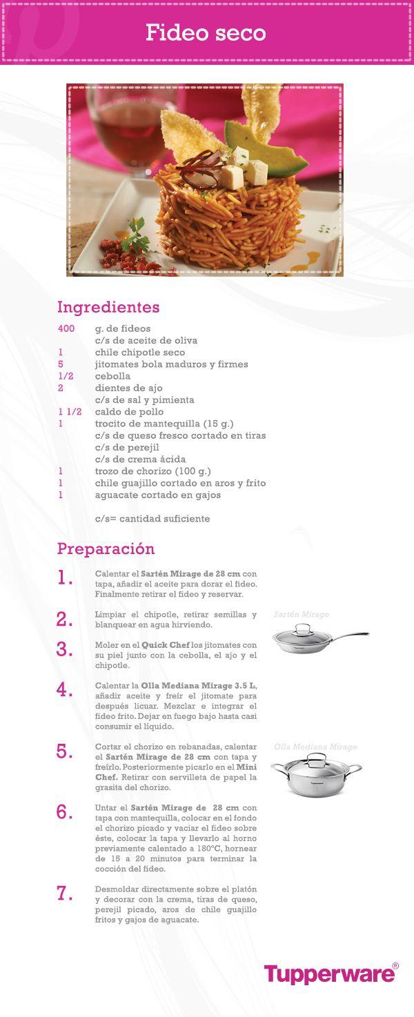 ¿Buscas una receta mexicana para sorprender a todos en el mes patrio? El Fideo Seco en esta presentación especial es ideal, además no olvides que con Tupperware lo preparas más fácil.