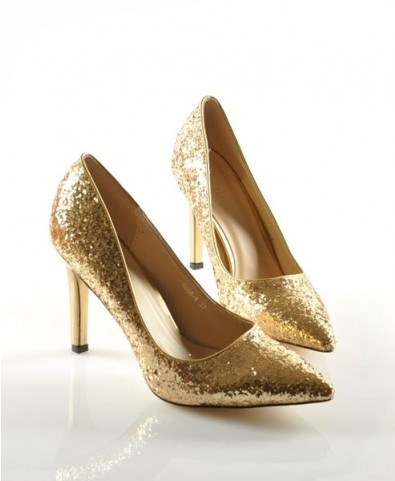 Golden Point Heeled Shoes with Sequin Upper