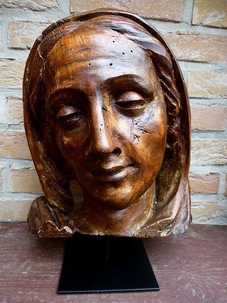 Antiek religieus houtsnijwerk - levensgroot lindenhouten hoofd Maria - 17e / 18e eeuw