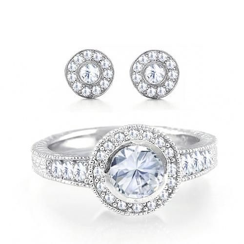 925 Silver Round Cut Vintage Pave Circle Ring and Stud Earrings Set .75ct