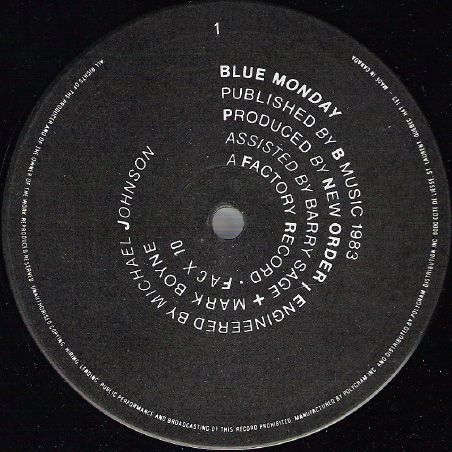 """Label for A side of New Order's """"Blue Monday"""" 12"""", by Peter Saville for Factory Records, 1983."""