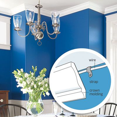 Reduce the amount of wall and ceiling repair that's typically required when adding overhead outlets for new light fixtures by installing crown molding at the same time. We show you how! | Photo: Jamie Salomon/Cornerhouse Stock. Illustration: Jason Lee. | thisoldhouse.com