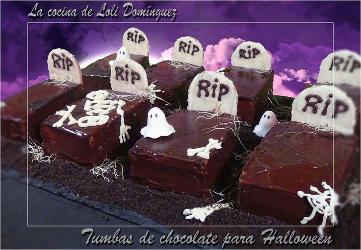 Tumbas de chocolate un postre o merienda ideal para una fiesta terrorífica de Halloween