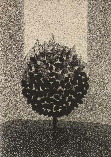 Milos Slama - Burning Bush - (linocut)