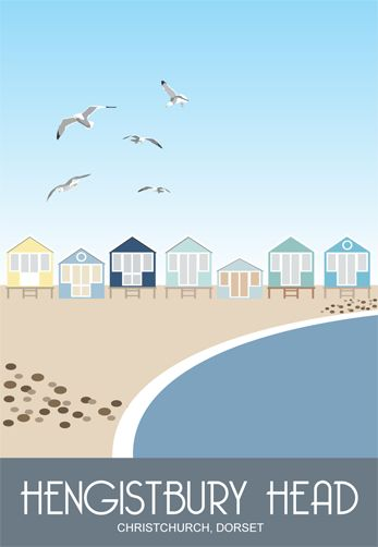Beach Huts on Hengistbury Head, Christchurch, Dorset. Railway Poster style Illustration by www.whiteonesugar.co.uk Drawing by Karen Wallace of White One Sugar.
