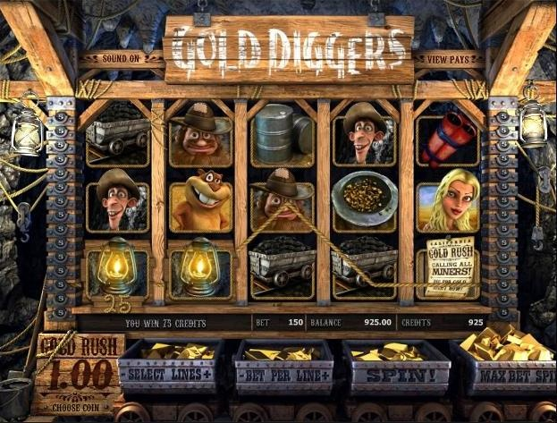 Play the Gold Diggers 3D video slots game from Betsoft completely free, or for money at 1OnlineCasino.com