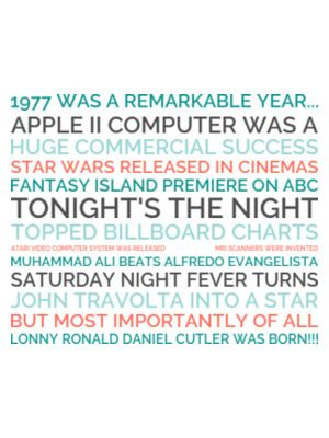 1977 was a remarkable year... Apple II computer was a Huge commercial success Star Wars released in cinemas Fantasy Island premiere on abc Tonight's the Night topped billboard charts Atari video Computer System was released                             MRI scanners were invented Muhammad Ali beats Alfredo Evangelista   Saturday Night Fever turns  John Travolta into a star But most importantly of all Lonny Ronald Daniel Cutler was born!!!