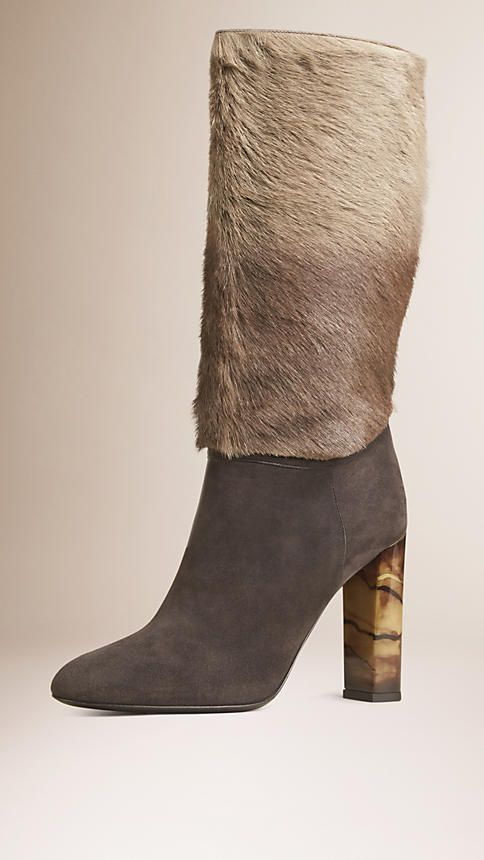 Sepia grey Mid-Calf Suede and Calfskin Boots - Image 1