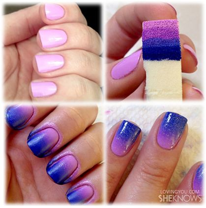 Ombre Nails- so easy and pretty and I love them. Don't forget to paint Vaseline around the edges for easy clean up