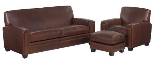 """Burton Leather Queen Sleeper Sofa Set w/ Down Seat Upgrade . $4195.00. YOU SAVE $50.00! Includes 1 leather sleeper sofa (pictured), 1 leather chair (pictured), and 1 matching leather ottoman (pictured). See individual pieces for dimensions. Includes down wrapped seat cushions. Available in 11 distinct leather colors and 2 leg color choices. * Seat Height 21""""/Arm Height 24"""" * Select Kiln Dried Frames * 100% Top Grain Leather * 5.25 Inch Kingsdown® Mattress * Remov..."""