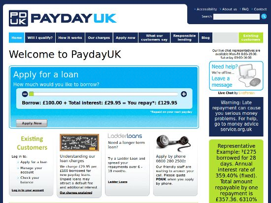 Pay day UK - Offeres Loans on per day basis. Site by Calipus.in