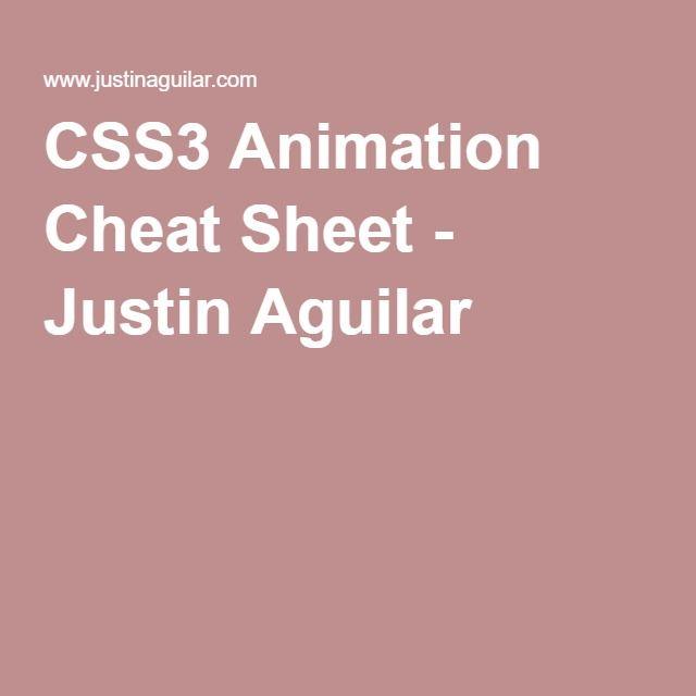 CSS3 Animation Cheat Sheet - Justin Aguilar