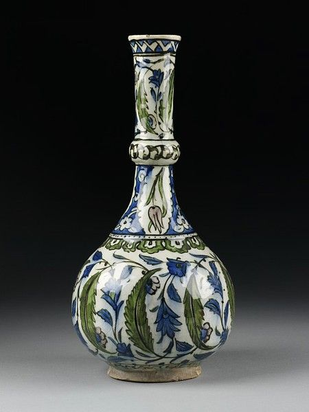 Tall white bottle with large green leaves and smaller blue ones, Turkey (Iznik), ca. 1545-1550. This is apparently cited in a book on ArtNouveau. I can see it. ]]>