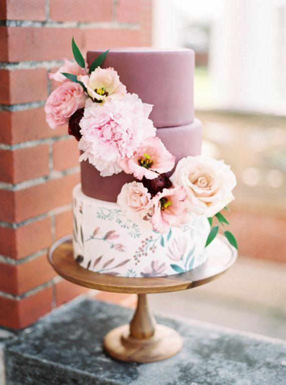 marsala and floral wedding cake