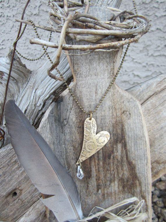 Vintaj Herz Anhänger Halskette Schmuck geätzte von MySistersArt