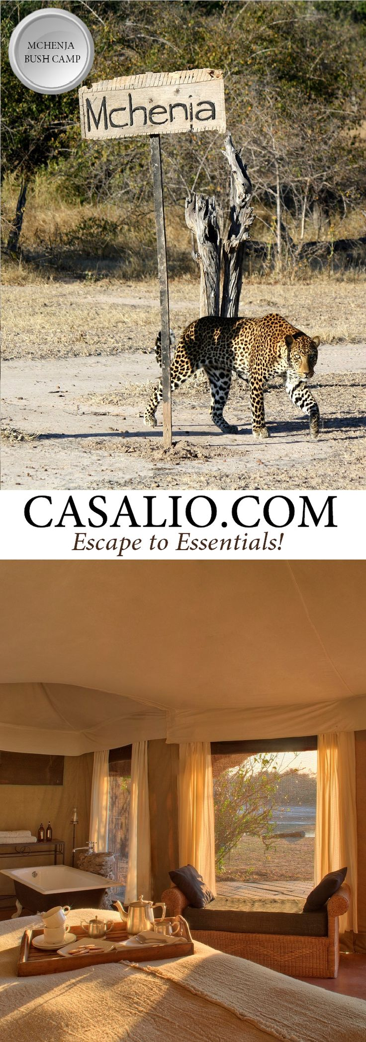 Mchenja Bush Camp |Luangwa River National Park, Zambia | The camp features 5 spacious octagonal shaped safari chalets. Each chalet is elegantly furnished, with an open air bathroom, hot and cold shower and Victorian style bath tubs. Superb viewing decks overlooking the Luangwa river where the wild animals drink. #luxurytravel #travel #luxuryvillas #villarental #safaricamps #safari #safaricamp #timeandtideafrica #casaliotravel #travelgram #mchenja #bushcamp #tourist #adventuretravel
