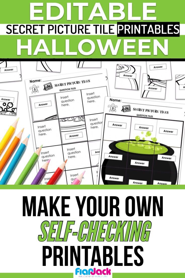 Make Self Checking Halloween Worksheets For Any Skill In Minutes With The Editable Secretpicturetile Printabl Picture Tiles Halloween Worksheets Word Problems [ 1102 x 735 Pixel ]
