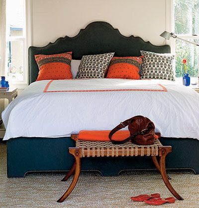 i like the navy and coral for the master bedroom