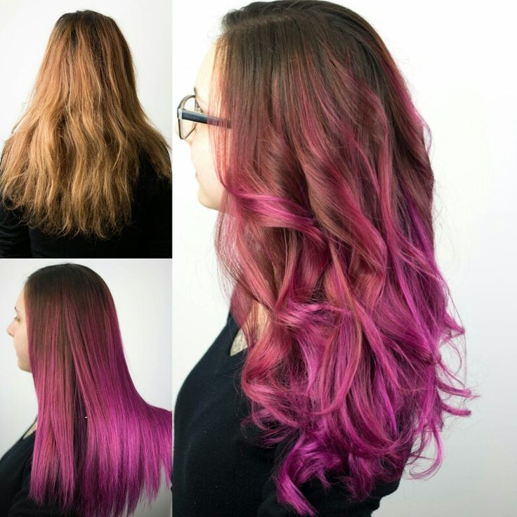Pink unicorn balayage, ombre hair! Before / After