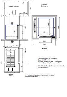 elevadores.sc: Corte AA e Planta Baixa